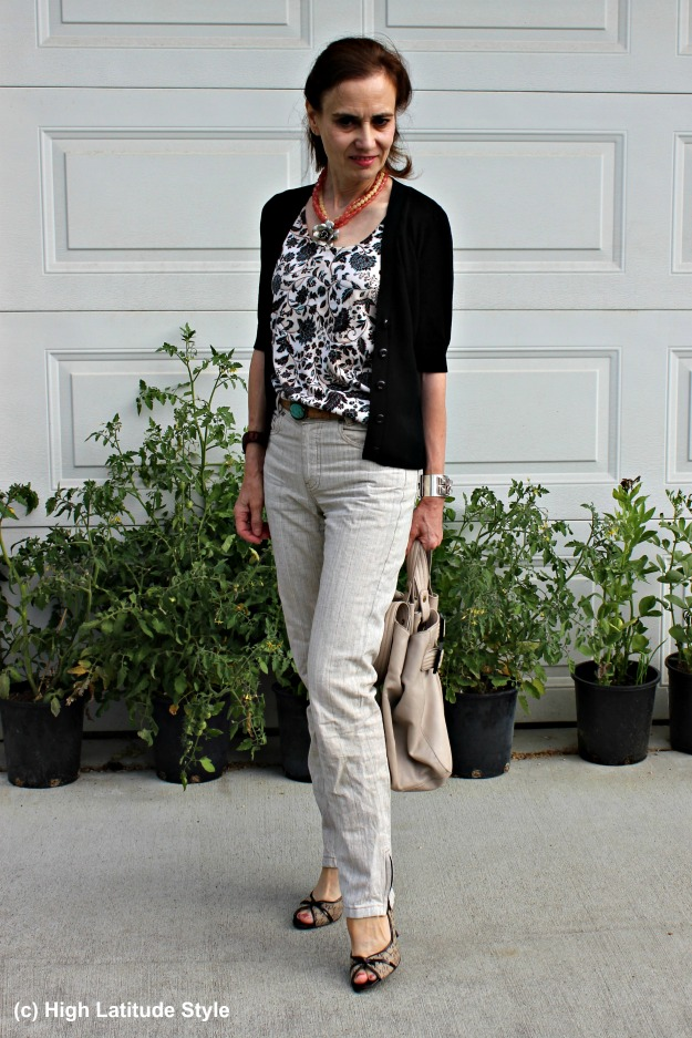 midlife woman in unmatched twin set and linen pants