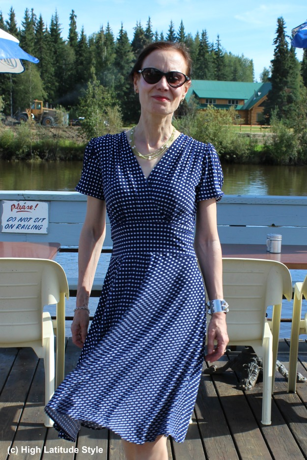 #styleover40 mature woman in blue and white polka dot dress