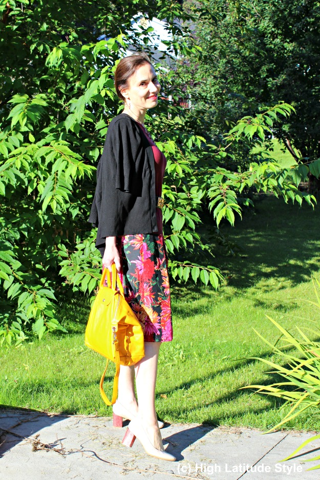 #styleover40 mature woman in faux twinset and floral skirt