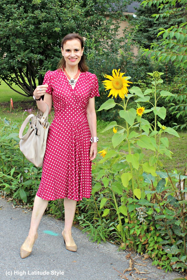 styleover50 mature woman in work outfit with polka dots