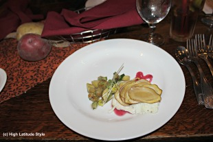 #food potato root salad on butter lettuce leaves