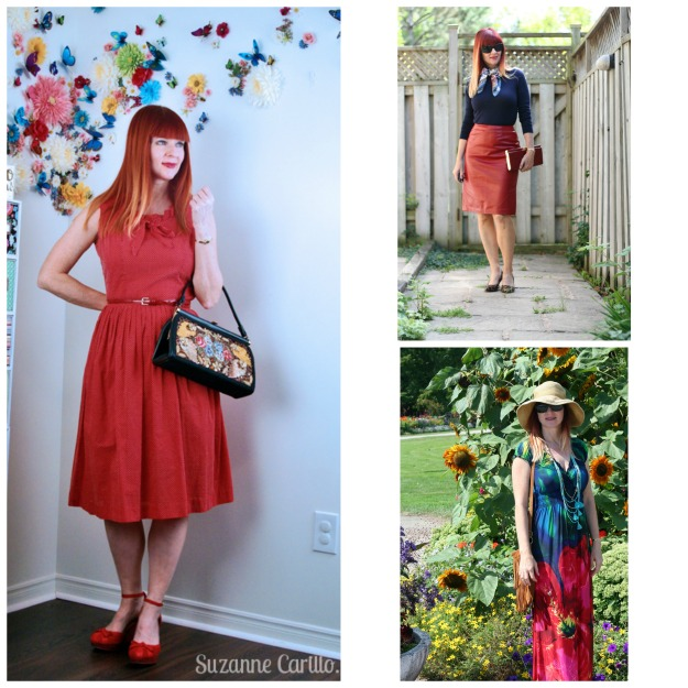 #fashionover50 mature redhead wearing red