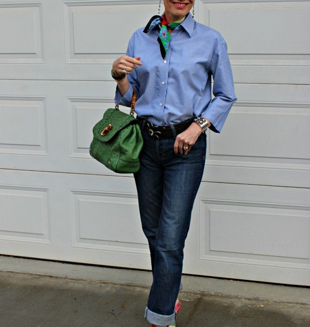 #fashionover50 casual work outfit with neckerchief
