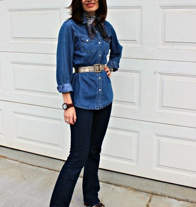 #fashionover50 woman in denim-on-denim casual look