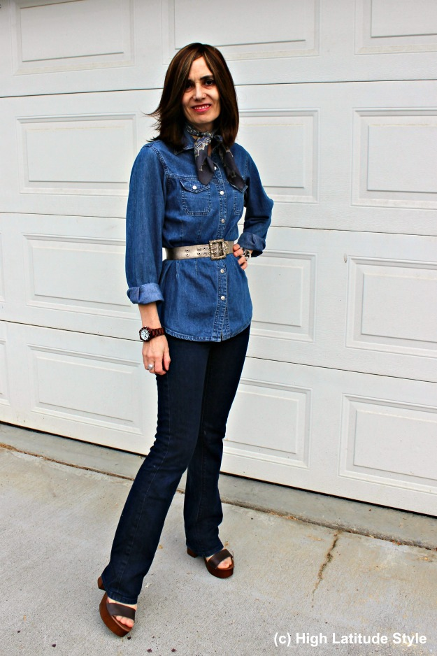 #over50fashion woman in denim-on-denim casual look