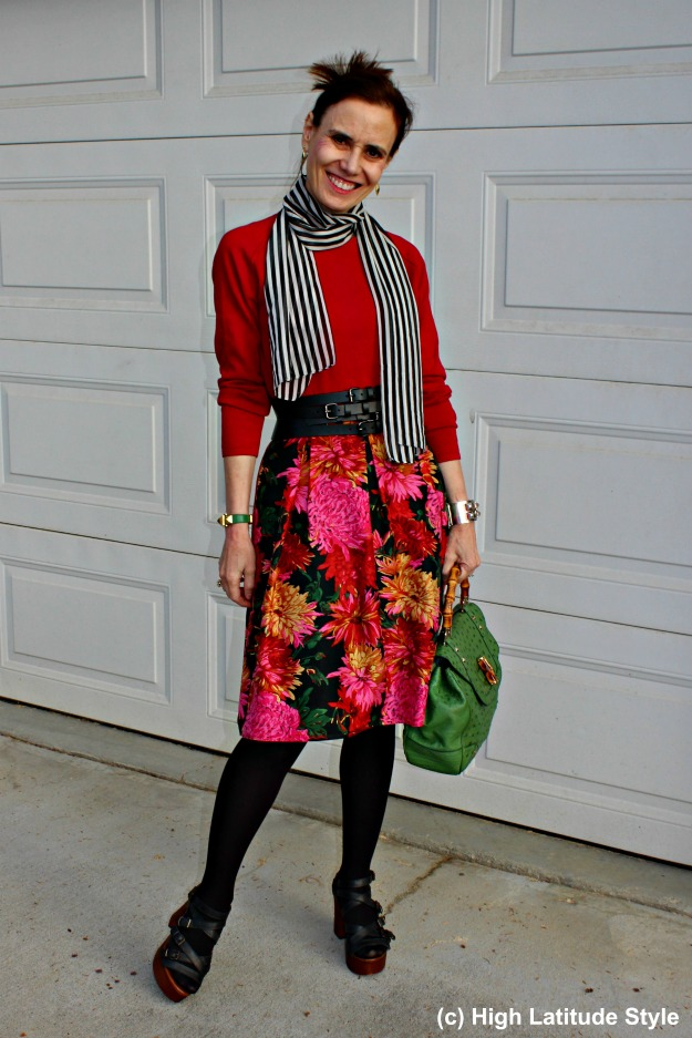 #styleover50 woman in floral skirt fall look