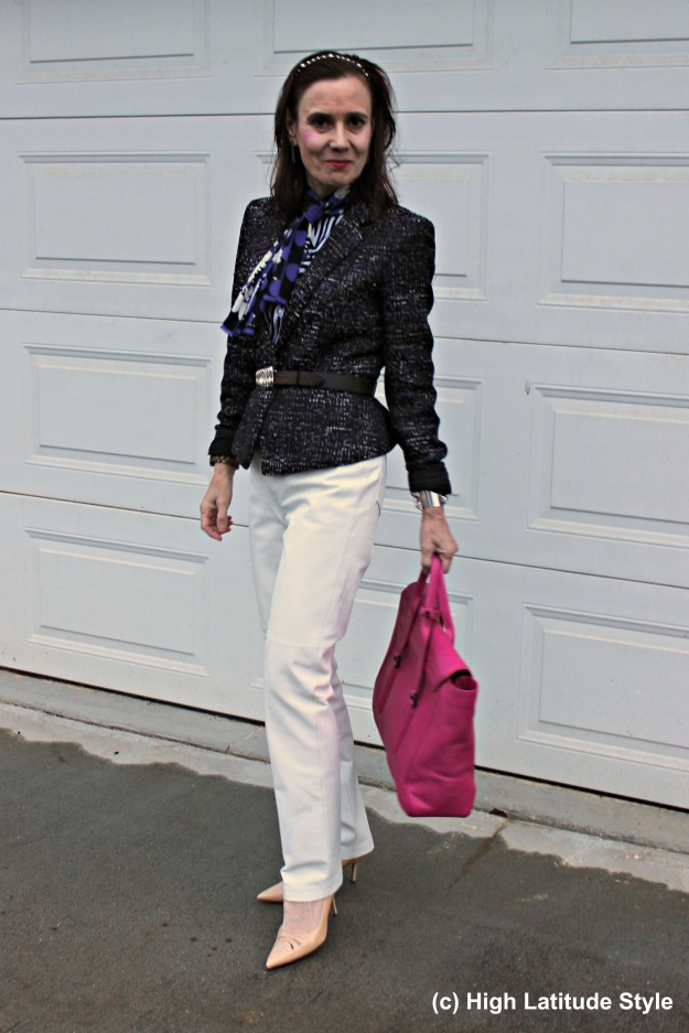 #fashionover50 mature woman in fall work outfit with white pants