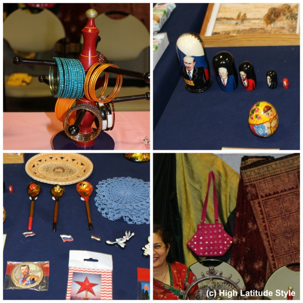 ethnic Souvenirs Bangles, Russian dolls, pins, spoons, and mirror bag