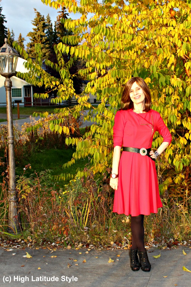 50+ woman in chic little red dress