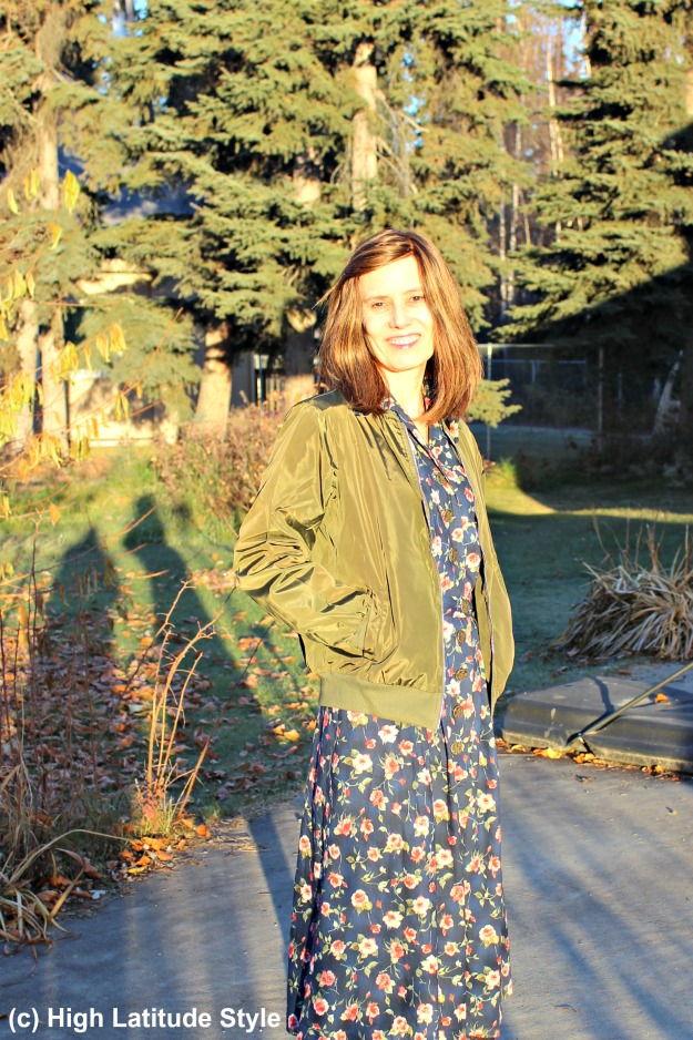 #styleover50 fashion blogger donning a shirt dress and aviator jacket