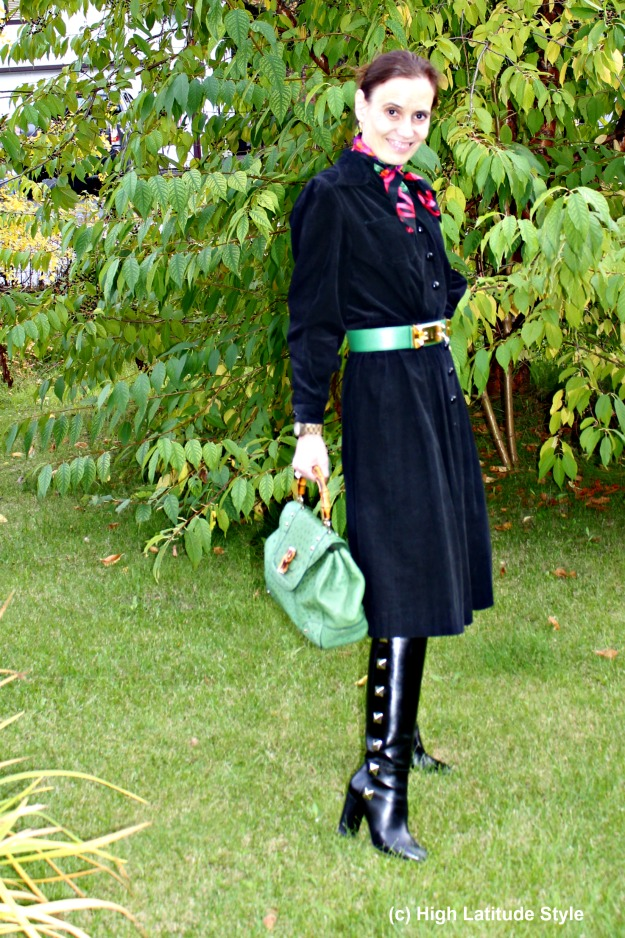 Nicole of High Latitude style in a 40s inspired home-made shirt dress