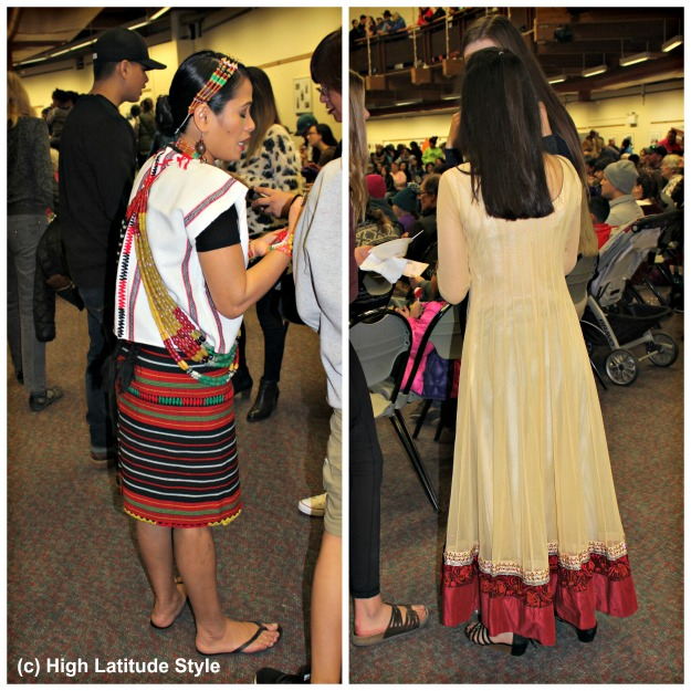 #ethnicClothes women in Polynesian and Indian outfit