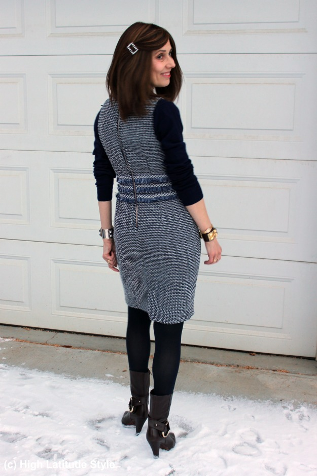 midlifestyle style blogger in a Chanel-inspired tweed dress