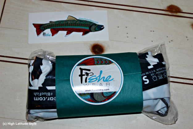 label and merchandise of Fishe Wear an Alaska company specializing in women outdoor clothing