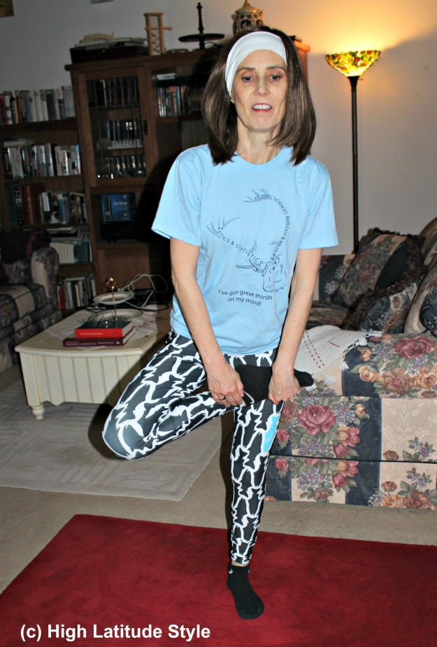 #fashionover50 Alaskan woman wearing Fishe Wear fishing leggings
