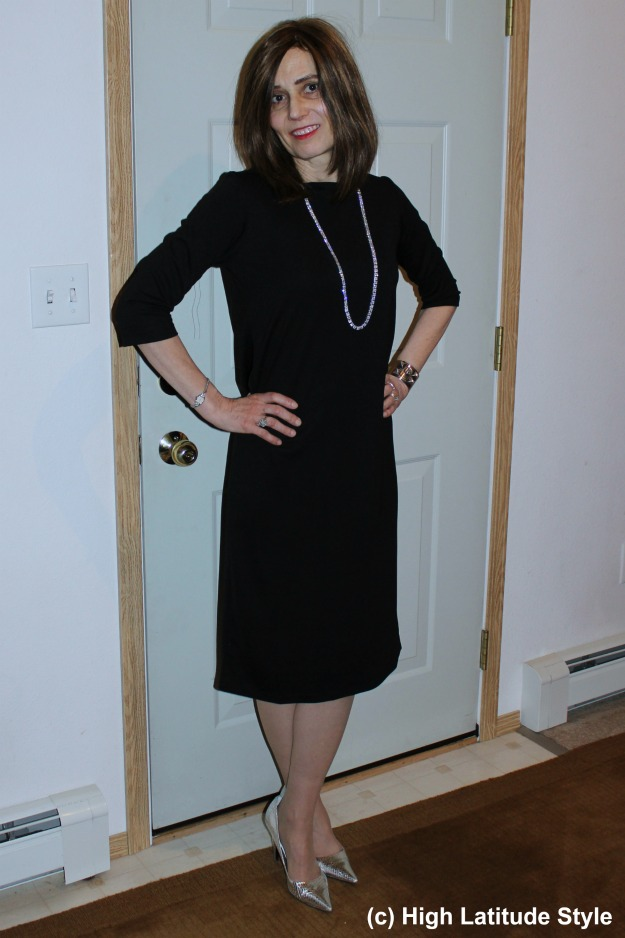 mature lady in holiday outfit
