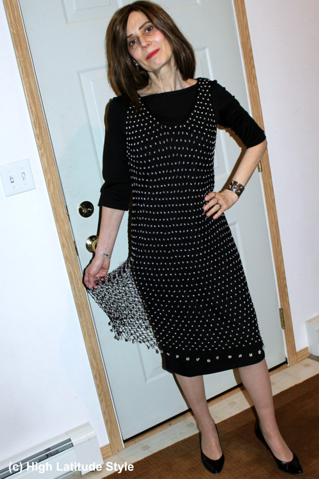 #CoveredPerfectly woman in New Year's Eve outfit