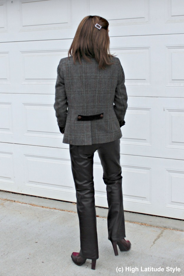 #advancedstyle woman donning straight leather pants and an Irish blazer for a posh office look