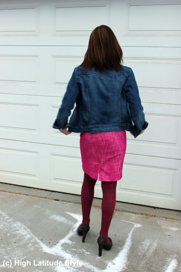 #styleover40 woman in casual work outfit with tweed skirt and denim jacket