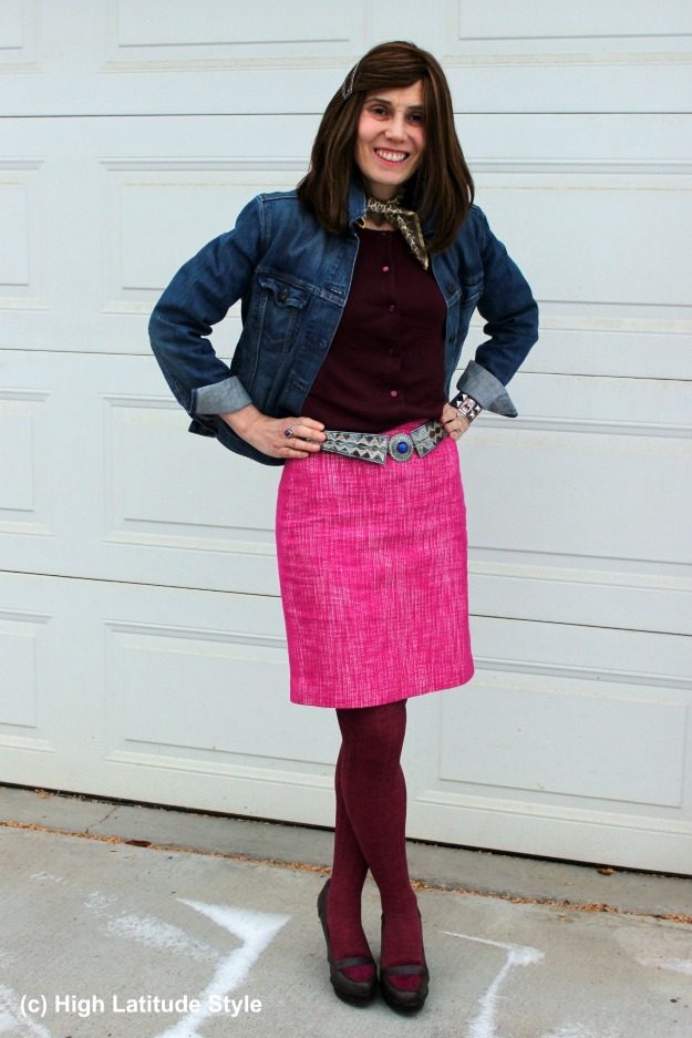 #fashionover40 fashion blogger in pink tweed skirt with yellow neckerchief