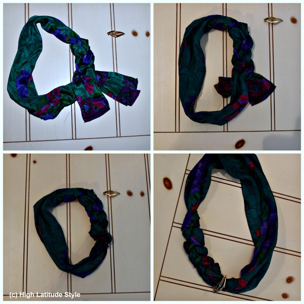 #fashionover40 howto braid a scarf into a necklace
