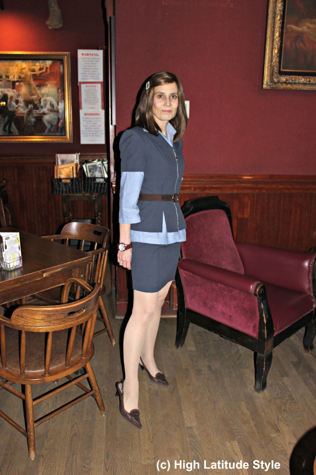 mature woman in skirt suit work outfit