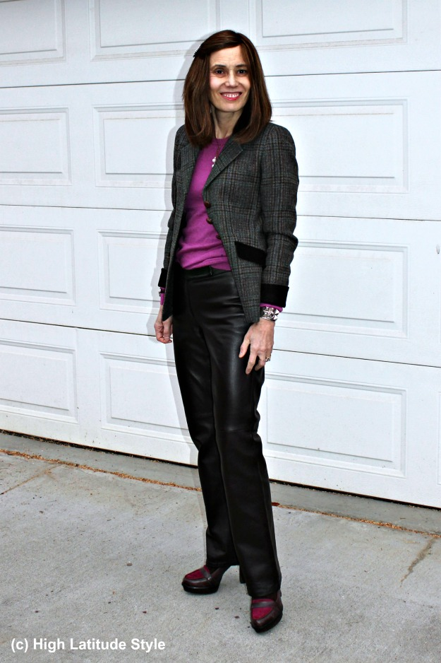 #maturestyle woman in business casual outfit looking chic in straight brown trousers