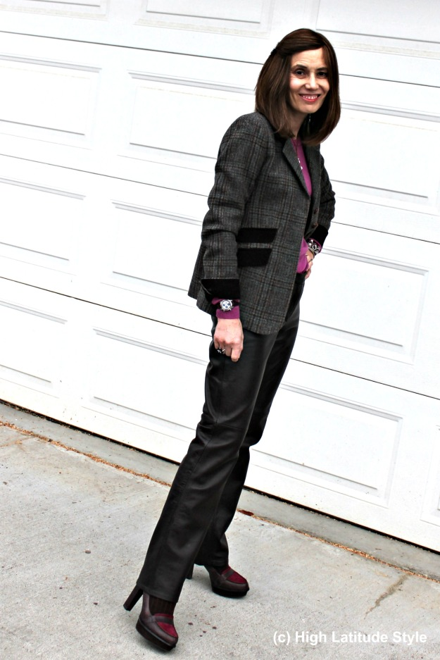 #midlifestyle woman looking posh in straight leather pants