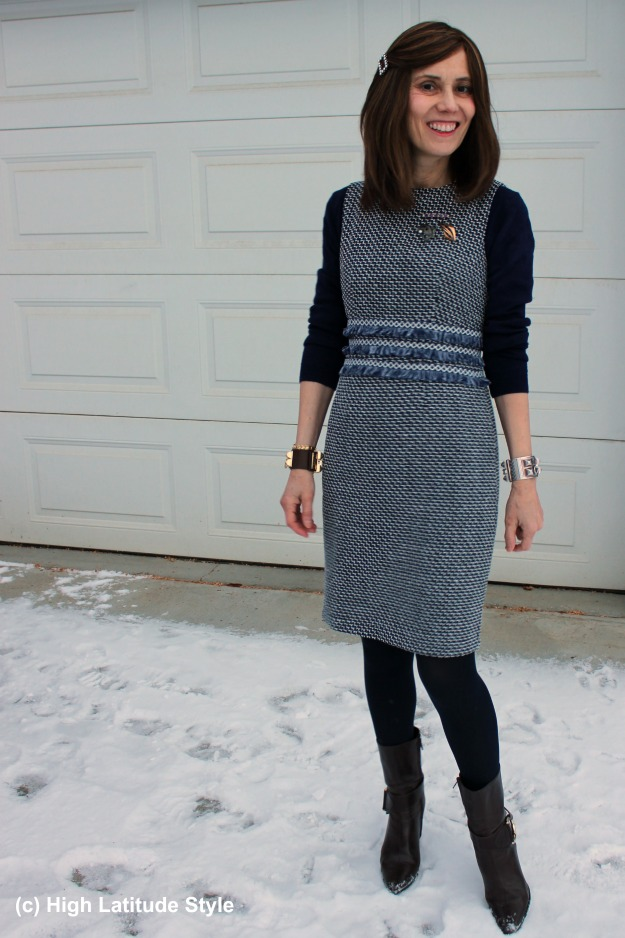 #styleover50 woman in Chanel style sheath dress