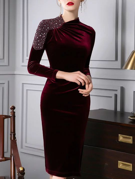 Stylewe Cocktail Dresses Long Sleeve 1 Party Dresses Cocktail Bodycon Stand Collar Elegant Beaded Dresses