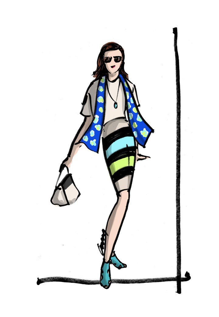 Sketch of fashion and style blogger Nicole by Anne M. Bray
