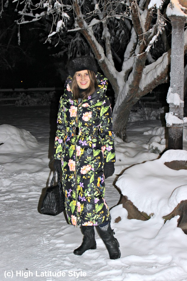 Alaskan woman in winter outfit with booties