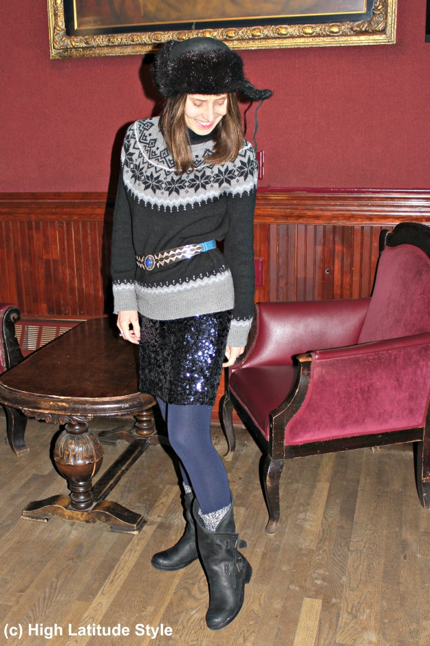 midlife style blogger in eclectic winter outfit with casual boots
