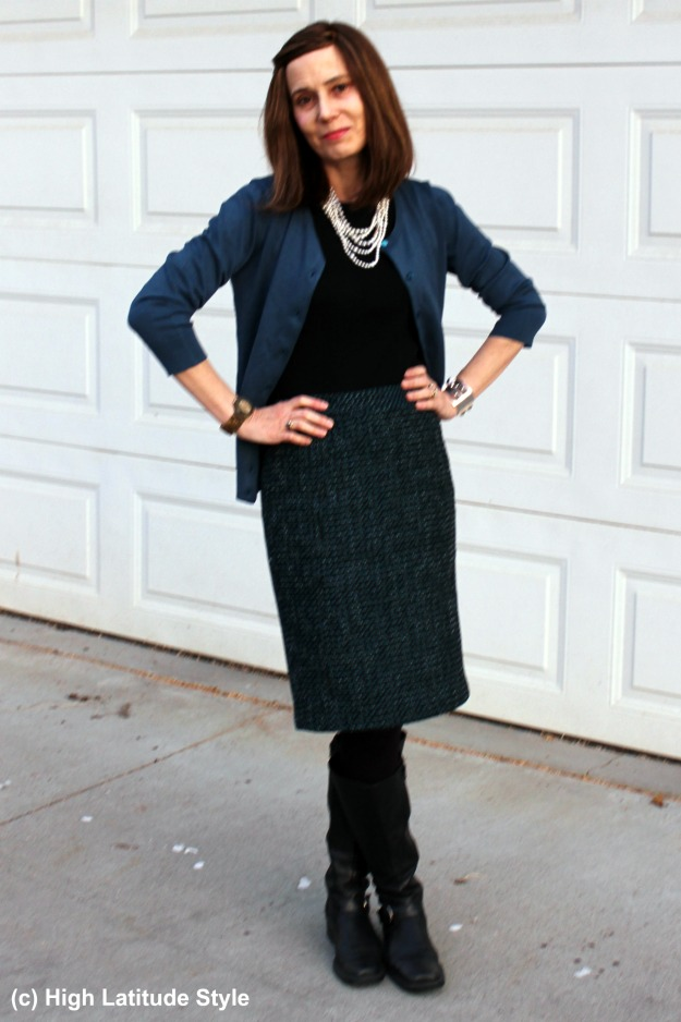 Alaskan fashion blogger in fake twinset and tweed skirt winter office look