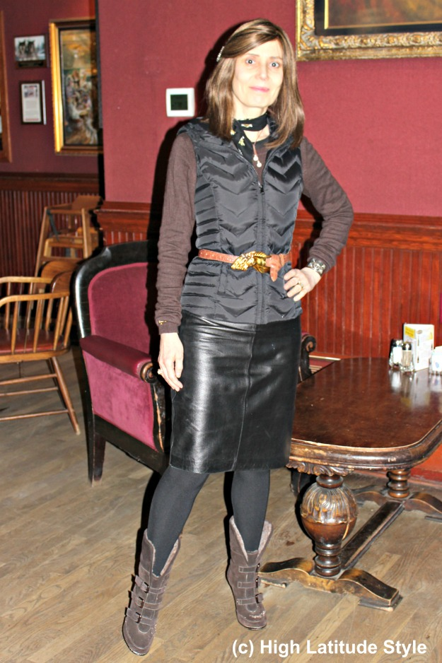 mature Alaskan fashion blogger wearing an outfit with layers for winter