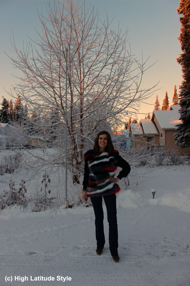 #fashionover50 woman in striped faux fur sweater