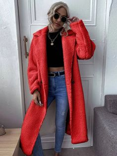 red midi double breasted Teddy coat