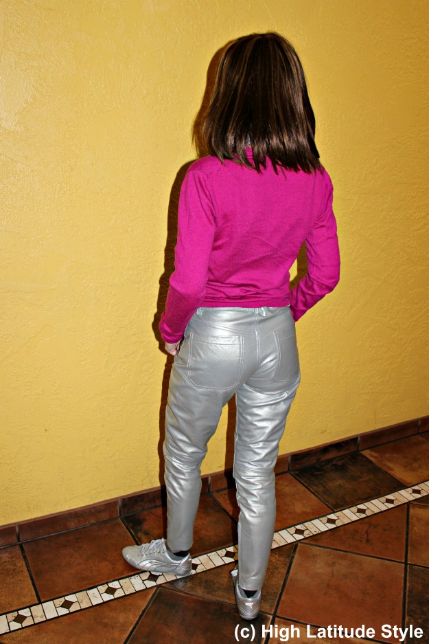 #maturestyle midlife woman in shiny pants