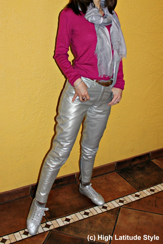 shiny pants with a pop of color
