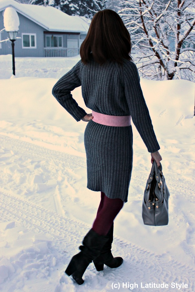 #midlifestyle woman in ribbed knit sweater dress