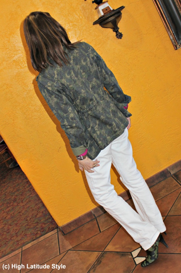 #mature style woman wearing camouflage booties and a camouflage jacket for Casual Friday