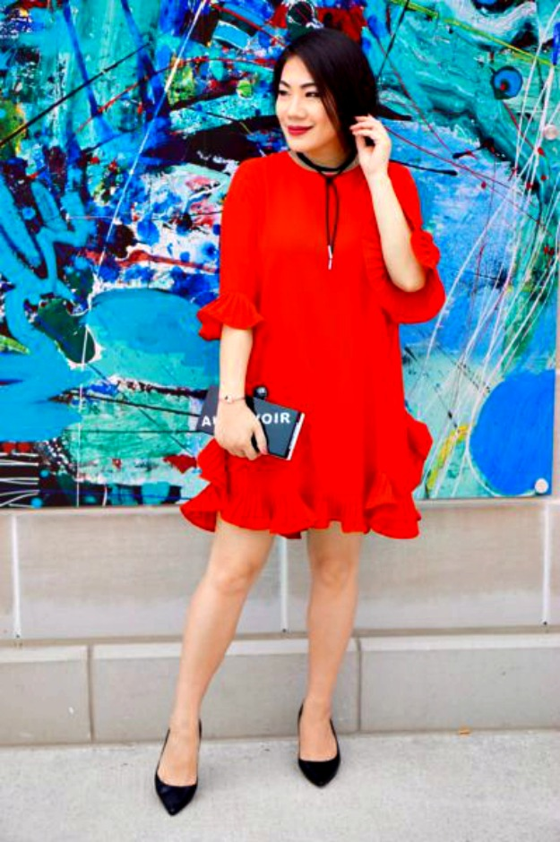 style over 40 woman in a little red dress