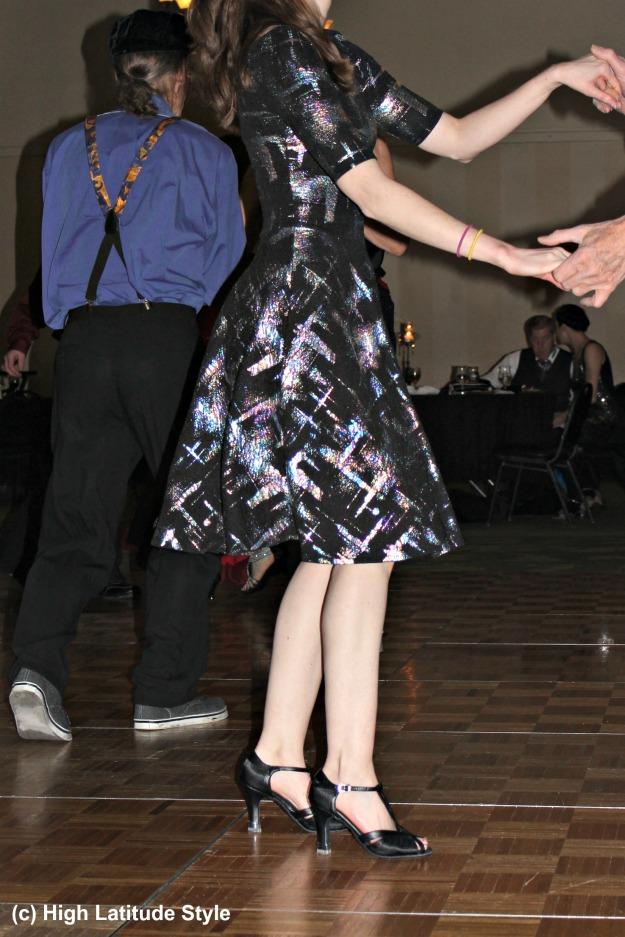 #ballattire fit-and-flare short ball dress with metallic shine