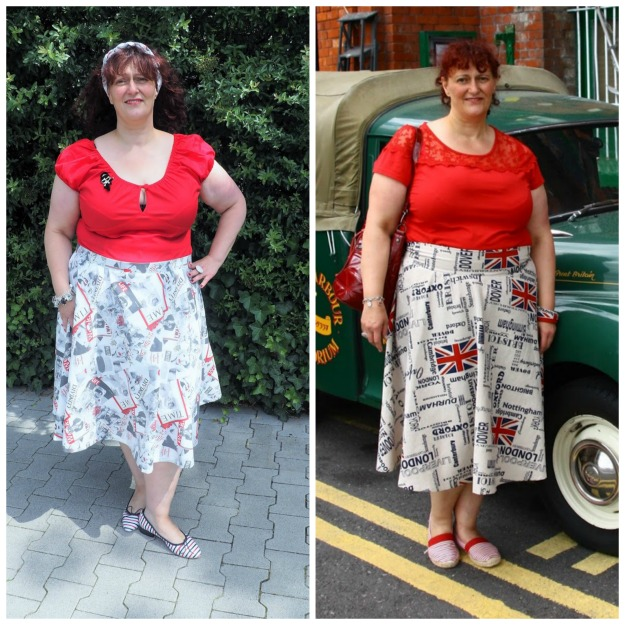 midlife woman in self-sewn flared skirts