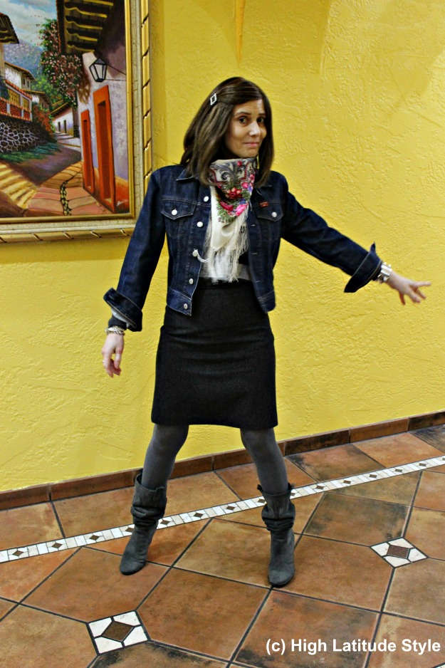#styleover40 woman in casual work outfit