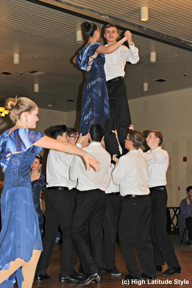 #Alaska #dancing Lathrop High School Ballroom Dance Team lifting one of their dance couples