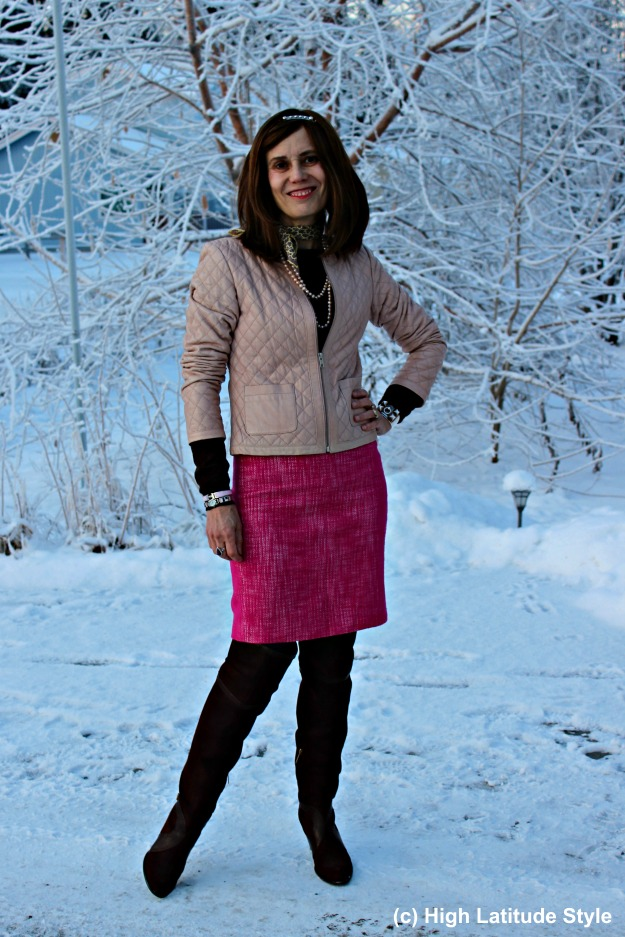 #fashionover40 Alaska woman in winter outfit