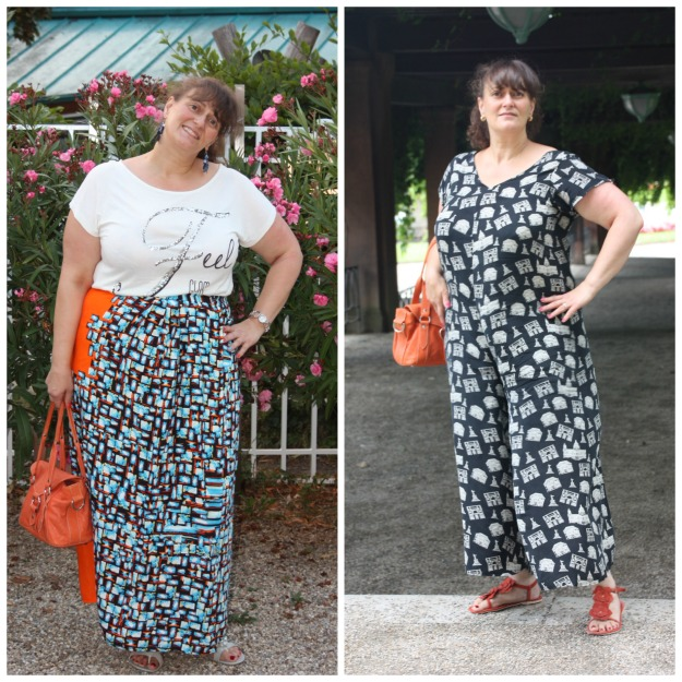 midlife woman in self-made wrap skirt (left) and jumpsuit