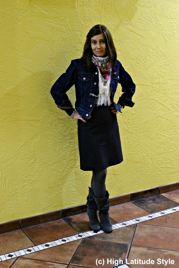 #fashionover50 woman in winter work outfit with tweed skirt and denim jacket