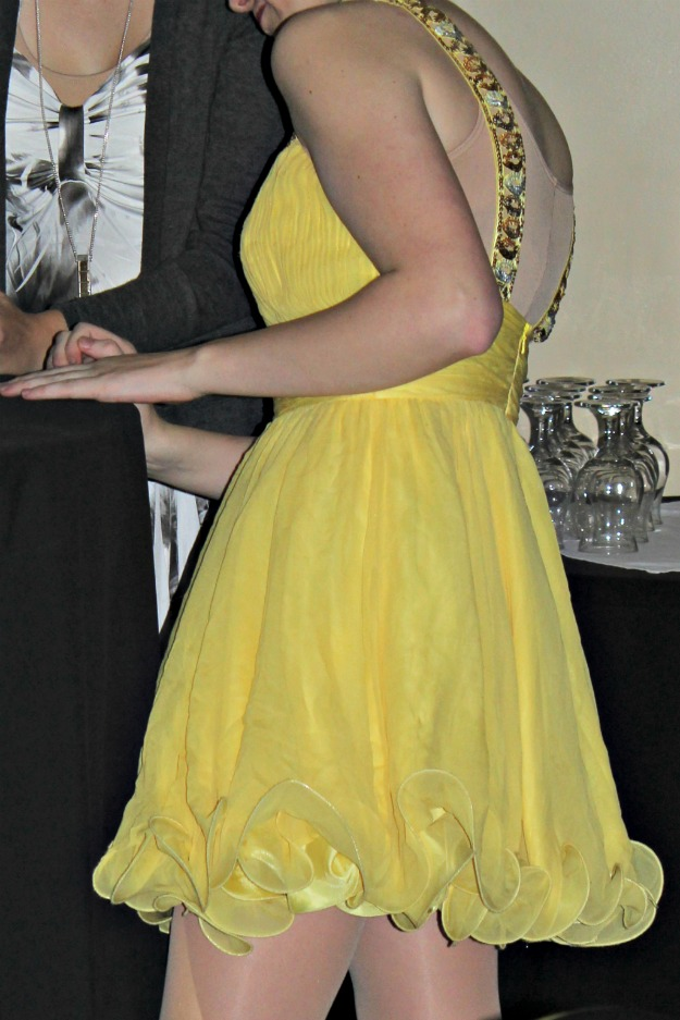 prom dance dress in yellow